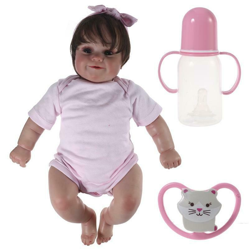 """20"""" Realistic Baby Reborns Doll Smiling Newborn Doll Lifelike with Clothes Hair"""