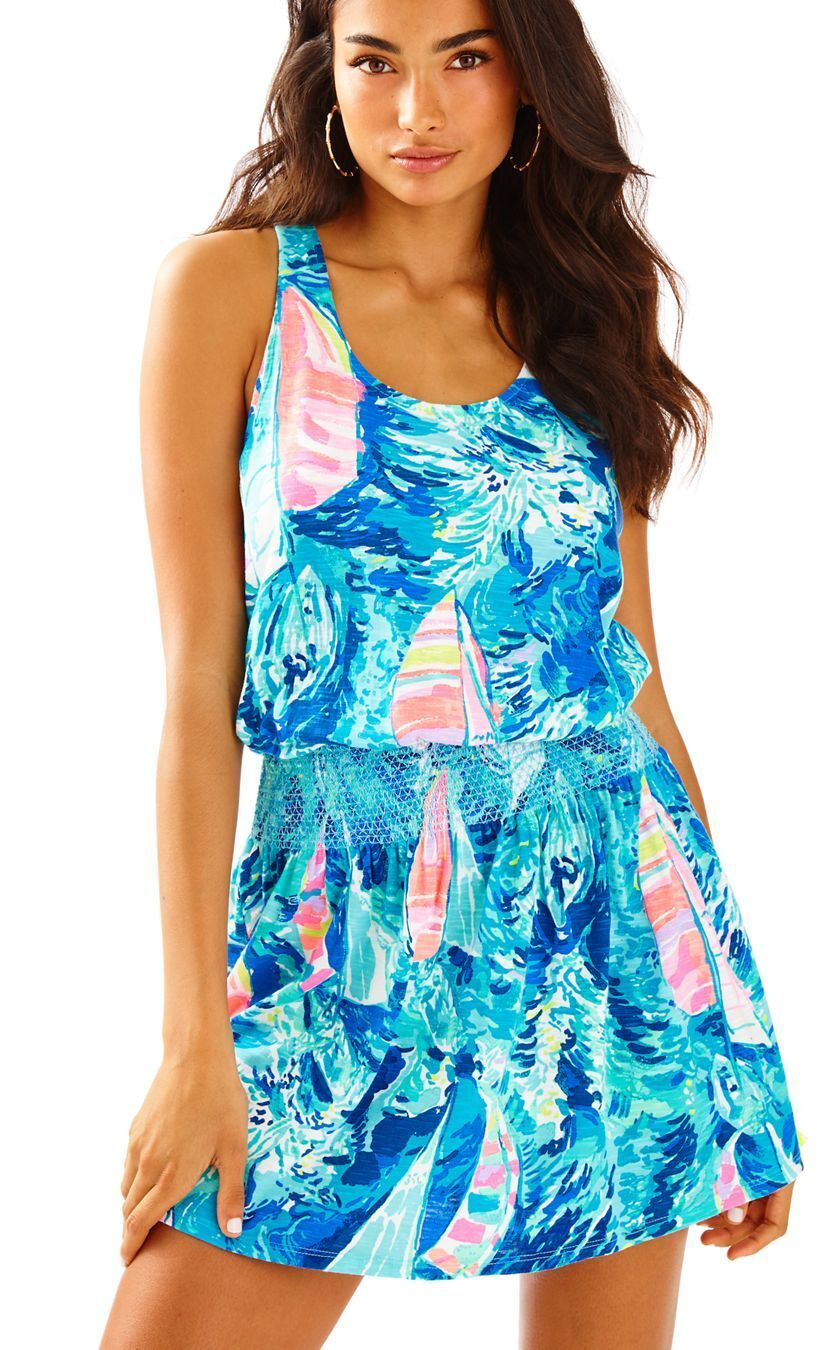 NEW Lilly Pulitzer TIDELINE Dress Sparkling bluee Hey Bay Bay BOAT L