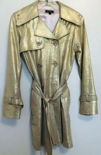 Women's Gold Metallic Leather Trenchcoat - Size S