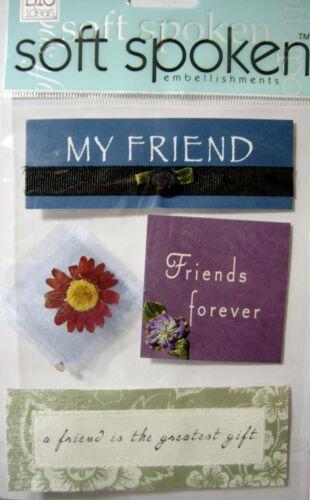 NEW 4 pc FRIENDSHIP Friends Forever Gift  SOFT SPOKEN 3D Embellishments MAMBI