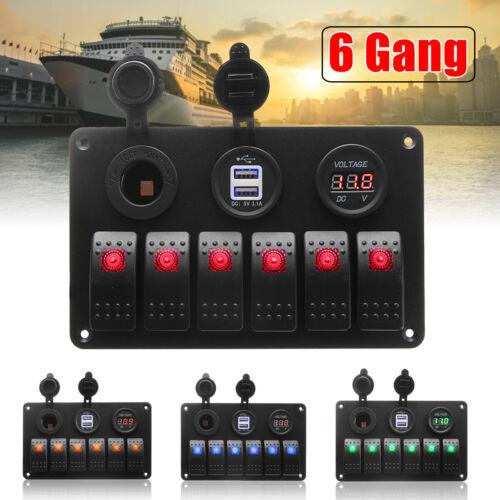 6 Gang LED Schalttafel Schaltpanel Voltmeter 2 USB Ladegerät Auto Boot  )