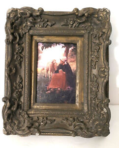 "Vtg Gray Gilt Ornate Picture Frame For 5""x7"" Chalkware? Baroque Rococo Girl Lamb"