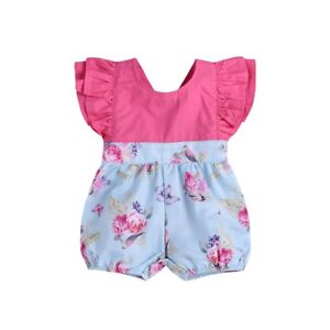 1d5e5d2f9d2f Newborn Toddler Baby Girl Ruffle Floral Romper Jumpsuit Outfits ...