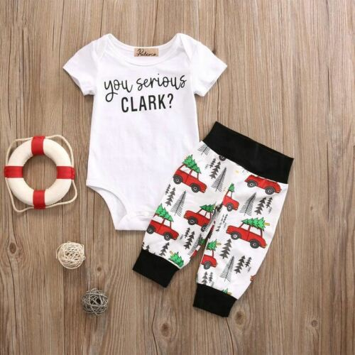 Infant Baby Boy Girl 2pcs Clothes Set Kids Short Sleeve You Serious Clark Letter