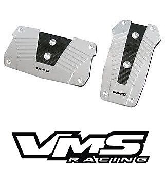 VMS RACING ALUMINUM PEDAL PAD COVER KIT AUTO TRANSMISSION AT 2PC - SILVER #2