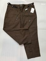 Women's Pants-liz & Co-liz Claiborne-brown Capris W/belt-linen/cotton-sz 10-nwt