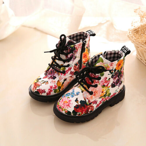 Kids Baby Girl Toddler Floral Leather Boots  Shoes Anti-slip Sneakers New