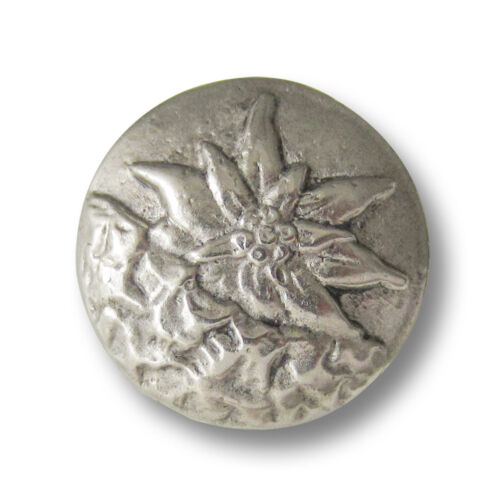 5605as-26 3 große altsilberfb Trachten Metall Knöpfe mit Edelweiß Motiv