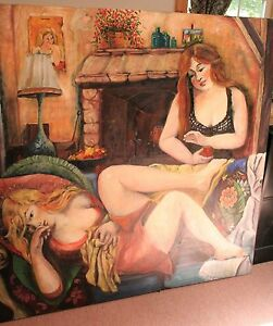 Image Is Loading Original French Oil Painting Mireille Ripley Two Sisters