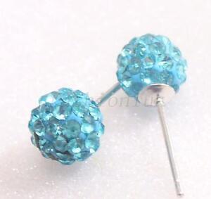 Unisex-6-7mm-Blu-Viola-Disco-Ball-Cristallo-Argento-Sterling-925