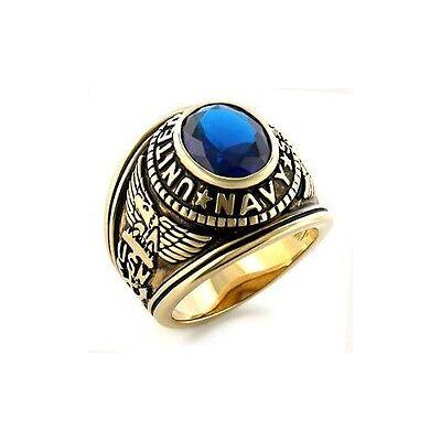 Isady - US Navy Saphir Gold - Herren Ring - 14 Karat (585) Gelbgold platiert - Z