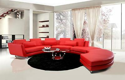 A94 Chic Modern Red Leather Contemporary Sectional Sofa