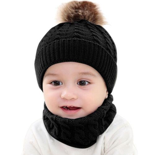 Baby Toddler Boys Girls Winter Warm Knitted Crochet Beanie Hat Cap Scarf Set UK