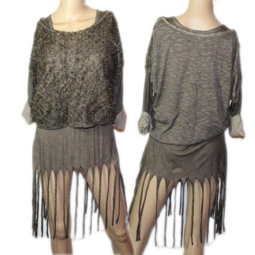 Hippie Goa Vintage Psy 2-tlg.Twinset Fransen Top Minikleid Pulli Bluse  36 38 40
