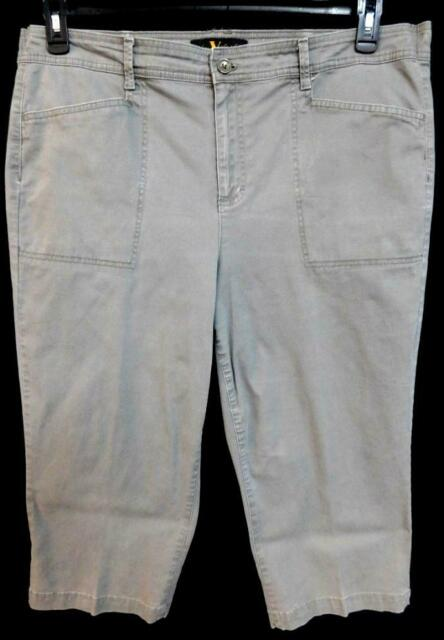 Gloria vanderbilt gray faux back pocket spandex stretch capri pants 18W