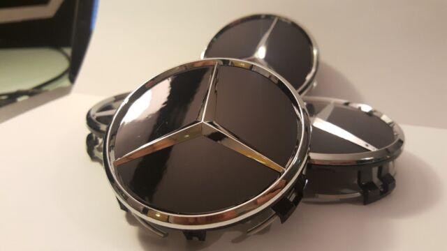 4x Mercedes Radnabendeckel Nabenabdeckung Nabenkappen 75mm Schwarz Glanz
