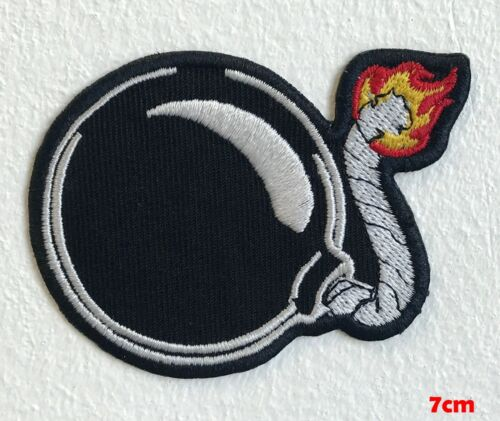 Black Bomb Cartoon Boom Iron Sew on Embroidered Patch #1567