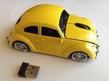 Yellow Wireless 3D USB Volkswagen VW beetle car  mouse Mice 3D PC/Laptop Gift