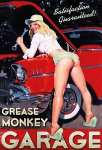 Grasa-De-Monkey-Garaje-Pin-Up-Girl-Letrero-Metal-Arqueado-Cartel-Lata-20-X-30CM