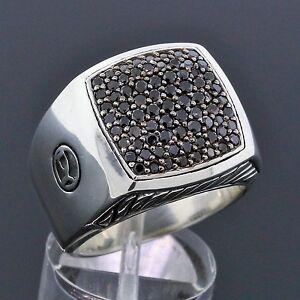 David Yurman 925 Sterling Silver Pave Signet Black Diamond Men S Ring Size 9 Ebay