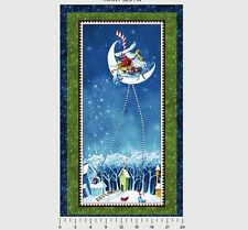 "1 Panel P & B ""Merrimint Santa Christmas Fabric Panel 24"" x 44"""
