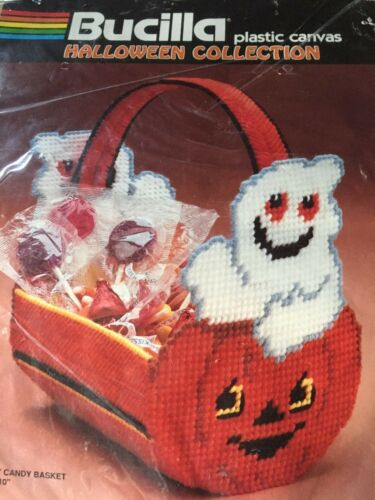 Bucilla Halloween Collection Plastic Needlepoint Canvas Kit Ghostly Candy Basket