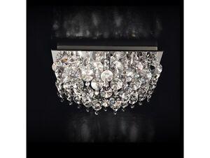 Plafoniere In Cristallo A Soffitto : Plafoniera lampada soffitto design moderno cromato cristalli