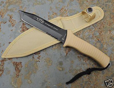 """Albainox """" Duna """" Tanto Fahrtenmesser Jagdmesser Coyote + Nylonscheide 31859"""