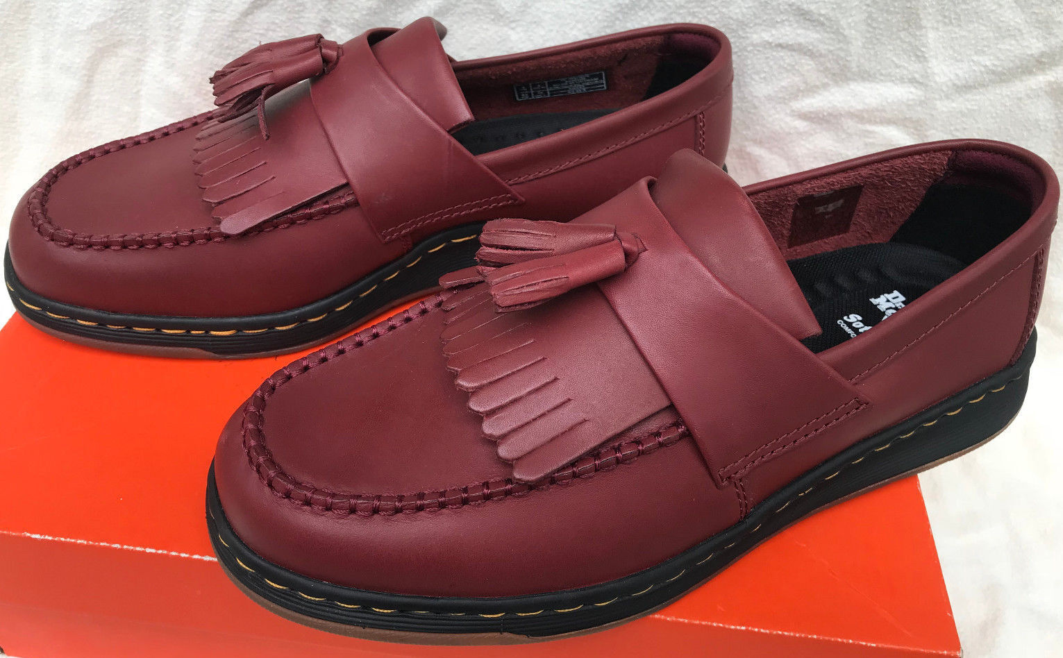 Dr. Martens Edison Soft Wair Cherry Red Leather Slip-On Loafers Shoes Men's 8