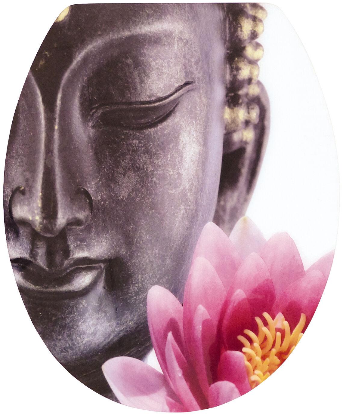 WC-Sitz Klobrille High-Gloss Dekor Buddha mit Soft-Schließ-Komfort und Fast Fix   | Online Outlet Store
