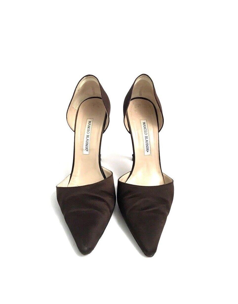 presa di marca Manolo Manolo Manolo Blahnik Dimensione 39.5 Marrone Silk Heels  vendita economica