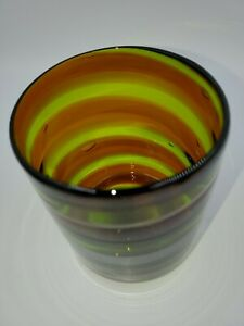 Contemporary-Art-Glass-Cylinder-Vase-Ribbon-Swirl-Hand-Blown-With-Pontil-Vintage