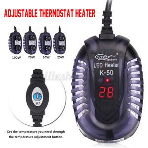 25-100W-Submersible-Fish-Tank-Aquarium-LED-Heater-Adjustable-Thermostat-Mini
