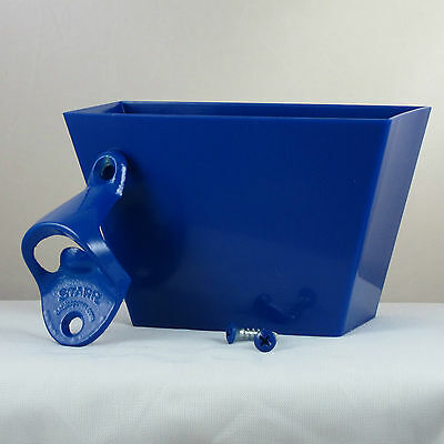 Starr Standard Blue Combo Wall Mount Bottle Opener and Blue Plastic Cap Catcher