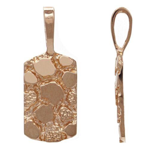 14k Rose Gold Nugget Pendant Rectangle Charm 2.2 grams