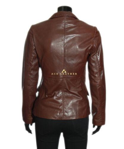 Brown Lambskin Jacket Leather Real Retro Smart Ladies Designer EqtpxE