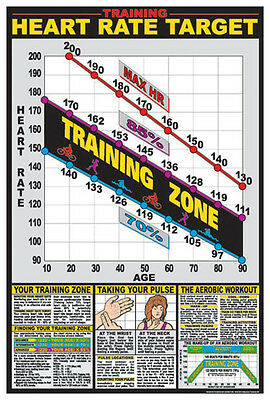Cardio Fitness HEART RATE TARGET 10-Second Pulse Test Gym Wall Chart POSTER