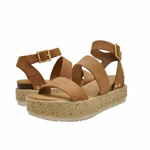 6a28177a628 Details about Women's Shoes Soda BRYCE Open Toe Platform Espadrille Wedge  Sandals TAN