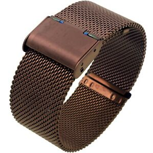 24mm-Stainless-Steel-Mesh-Milanese-Watch-Band-Bracelet-Color-Brown-Coffee-IP