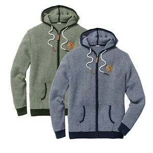 New-Mens-Zip-Up-Cardigan-Hooded-Textured-Knit-Hoody-Ribbed-Sleeve-Jumper-M-4XL