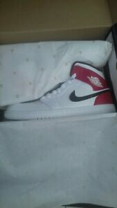 76e7296bfeb8 Nike Air Jordan 1 Mid White Gym Red Black Leather Mens Trainers ...