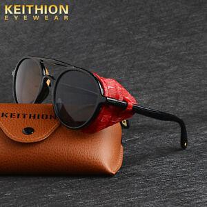 KEITHION-Unisex-Polarized-Steampunk-Sunglasses-Round-Vintage-Retro-Eyewear-UV400