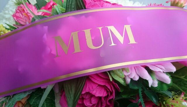 Printed ribbon, personalised for wreaths, grave memorials, mum etc.