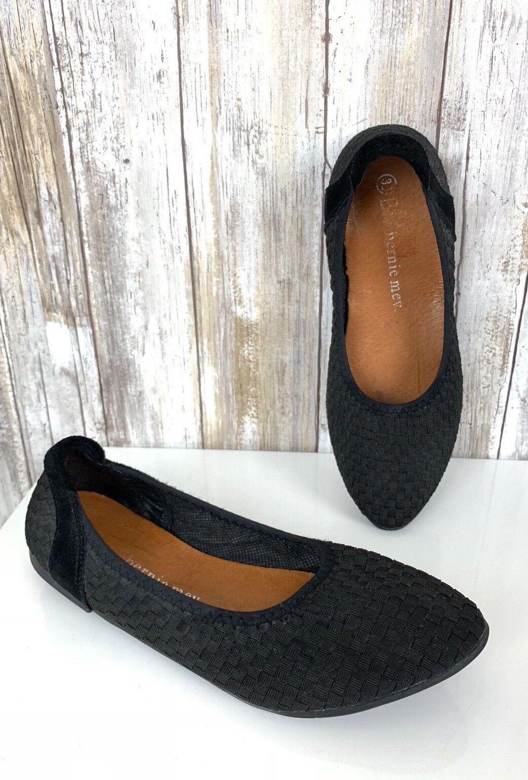 Bernie Mev Women's shoes Slip Ons Woven Semi Pointed Black Ballet Flats 38 7.5
