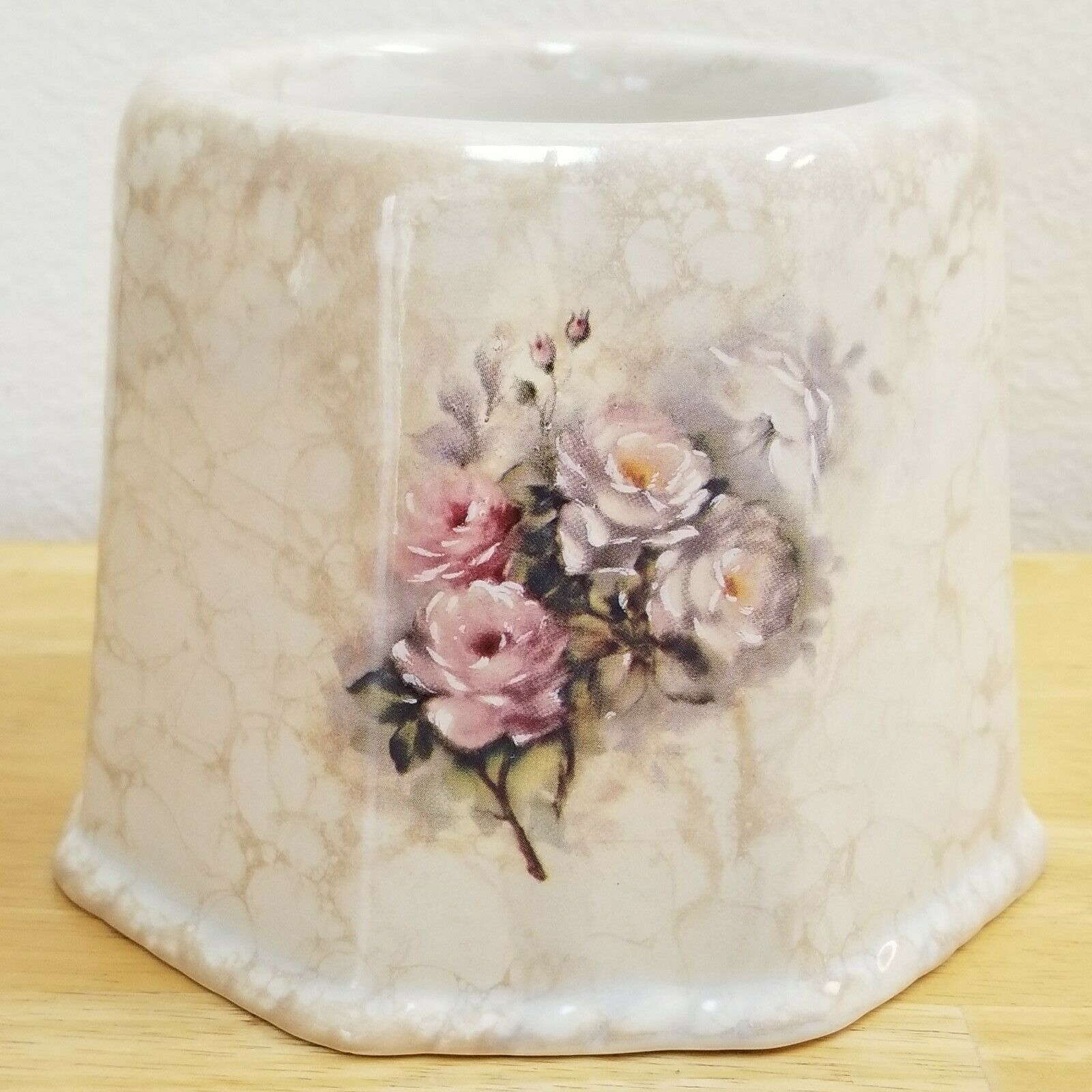 #1120 RARE Collectible Athena Roseland Marbled Color Roses Toilet Brush Holder