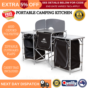 Deluxe-Camping-Kitchen-Foldable-Cupboard-Bench-Picnic-Portable-Table-w-Carry-Bag