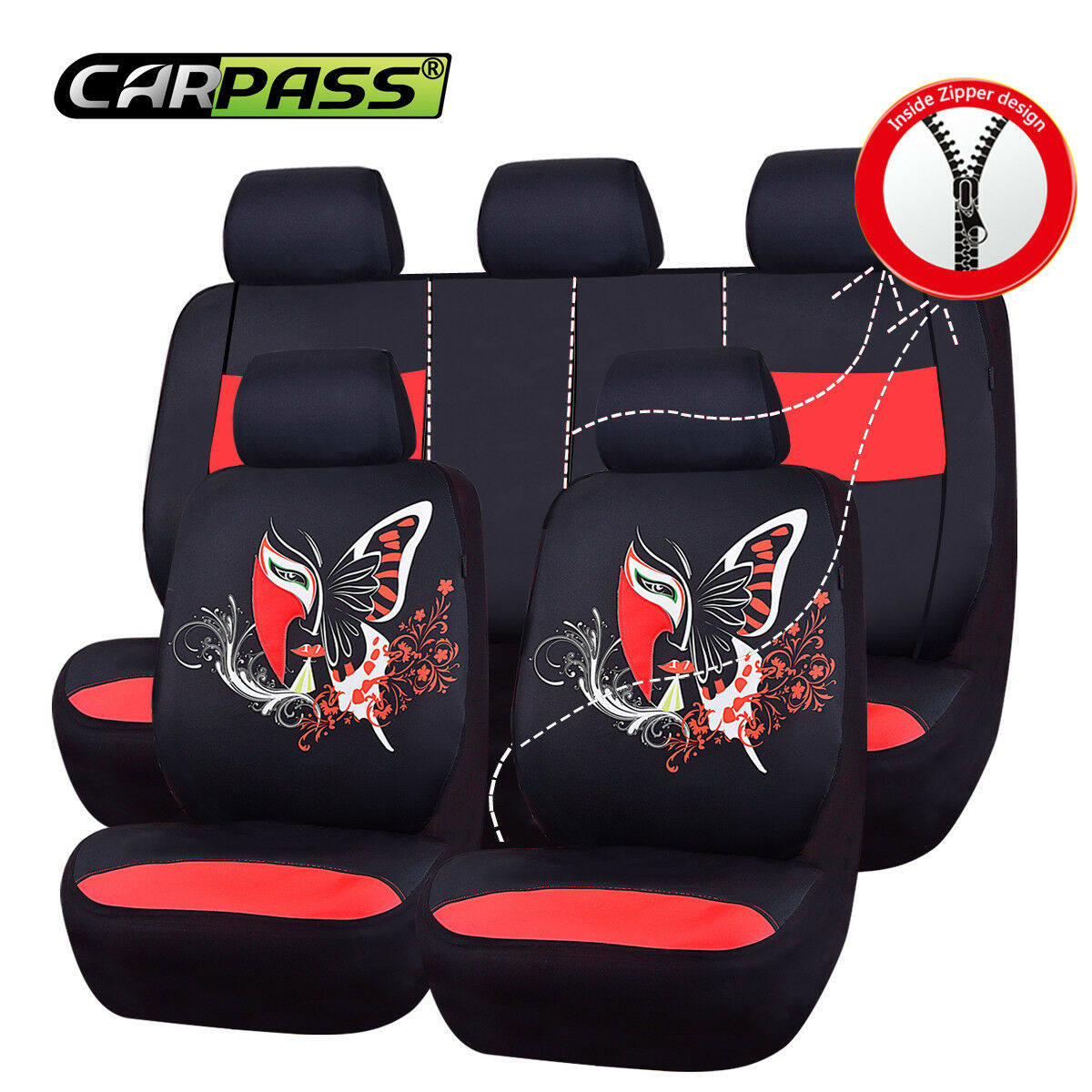 Black And Red CAR PASS 6PCS SUPER Universal Automobile Front Seat Covers Set Package-Fit for Vehicles,Black and Gray With Composite Sponge Inside,Airbag Compatiable /… NEW ARRIVAL