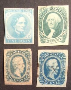 confederate states stamps CSA #6, 11, 12, 13.