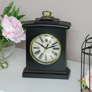 Black-carriage-mantel-clock-arched-curved-vintage-desk-display-Fathers-day-gift