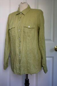 J-Jill-S-Green-100-Linen-Love-Long-Sleeve-Button-Front-Shirt